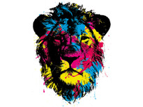 Color splattered lion T-Shirt Design by