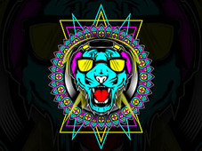 Neon Tiger T-Shirt Design by