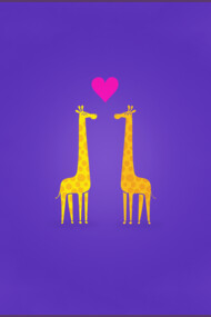 Cute cartoon giraffe couple in Love