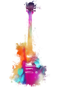 Colored acoustic guitar - musical instrument