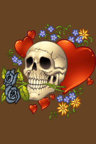 Love Skull with Black Roses and Flowers